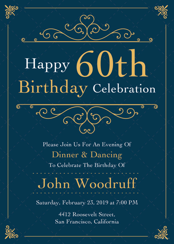 60th Birthday Invite Templates Fresh 23 60th Birthday Invitation Templates – Psd Ai