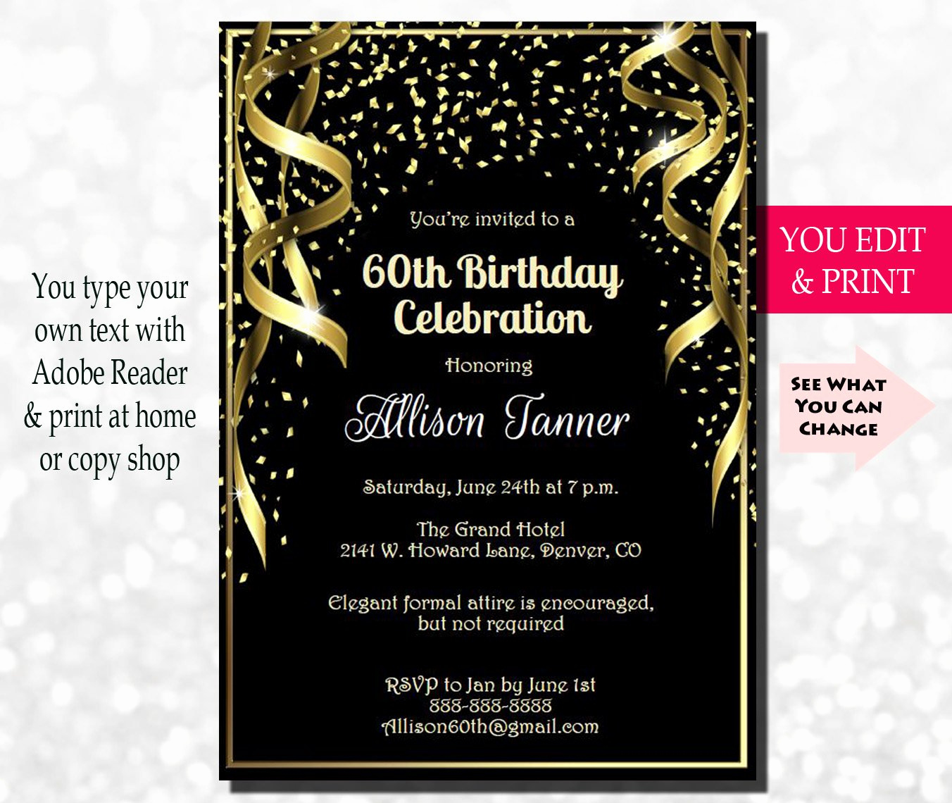 60th Birthday Invite Templates Luxury 60th Birthday Invitation 60th Birthday Party Invitation 60th