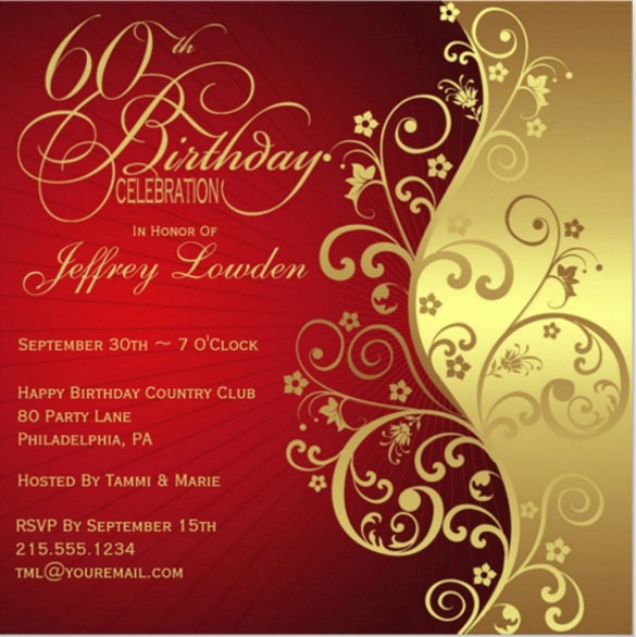 60th Birthday Invite Templates New 28 60th Birthday Invitation Templates Psd Vector Eps
