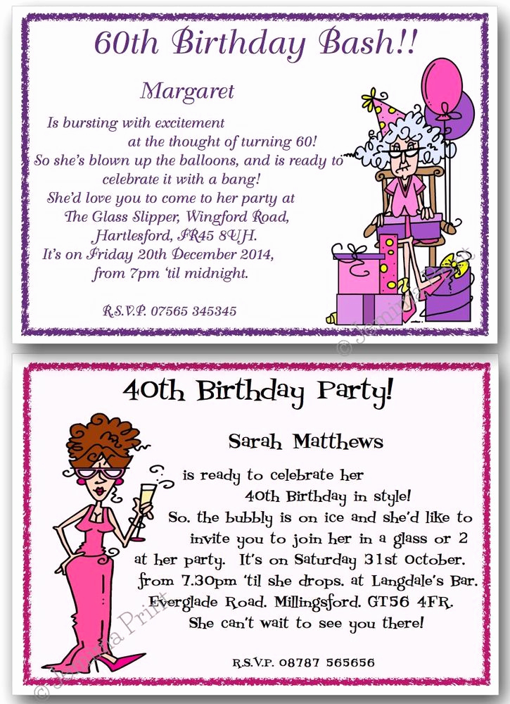 60th Birthday Invite Templates Unique 30th 40th 50th 60th 70th 80th Personalised Funny Birthday