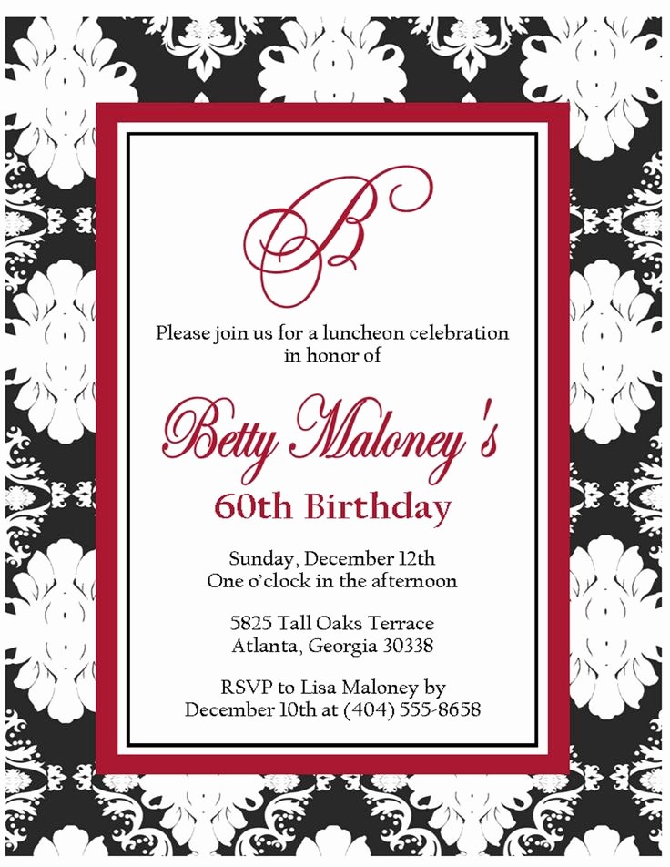 60th Birthday Invite Templates Unique 60th Birthday Invitations for Her