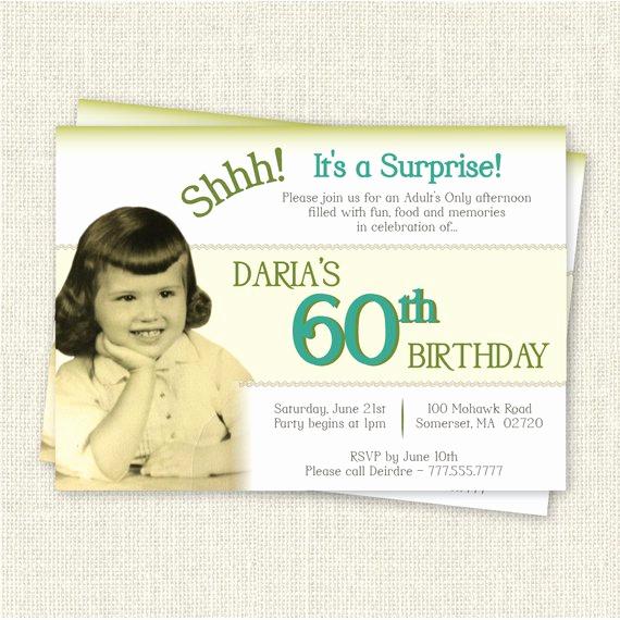 60th Birthday Invite Templates Unique Surprise 60th Birthday Invitation Digital Printable File
