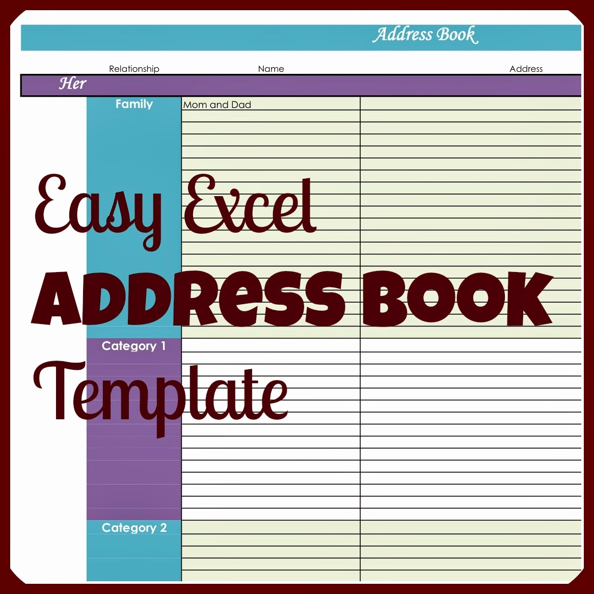 Address Book Template Excel Beautiful Laura S Plans Easy Excel Address Book Template