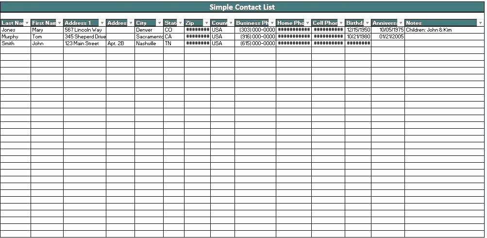 Address Book Template Excel Best Of Business Contact Template Excel Address Book Template List