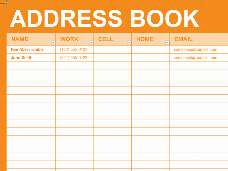 Address Book Template Excel Elegant Free Excel Template Personal Address Book