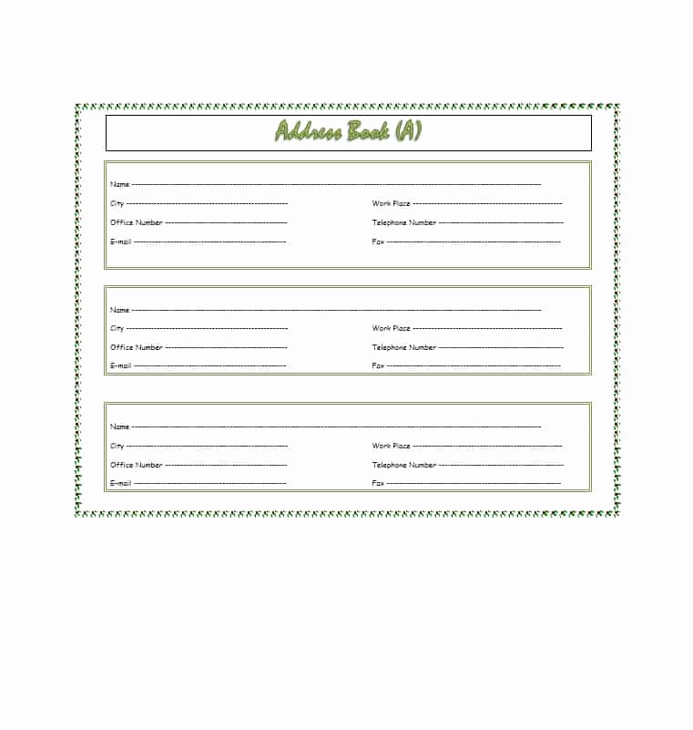 Address Book Template Excel Inspirational Address Book Template Printable Excel Editable Free Download