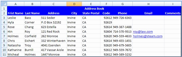 Address Book Template Excel Lovely Excel 2010 Address Book Template Address Book Template