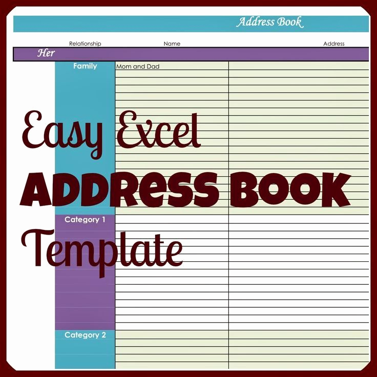 Address Book Template Excel Luxury Easy Excel Address Book Template