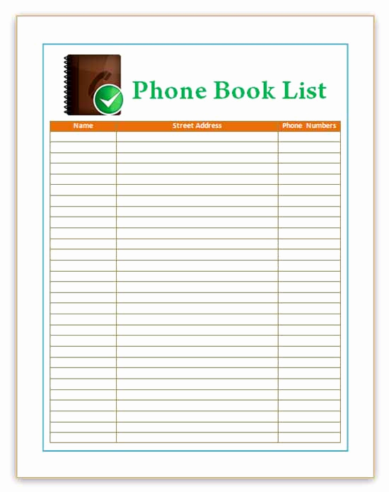 Address Book Template Excel Luxury Microsoft Word Address Book Templates Frompo