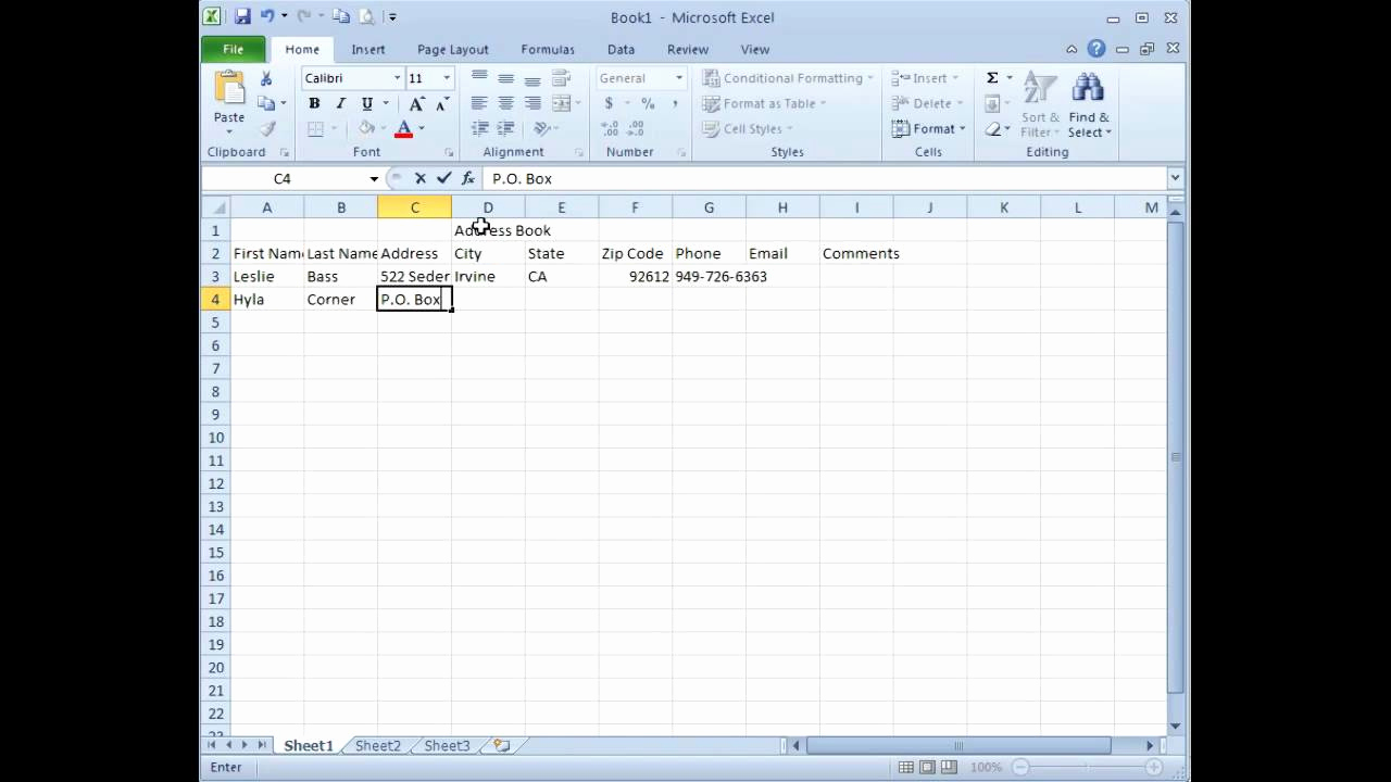 Address Book Template Excel New Microsoft Excel Creating An Address Book