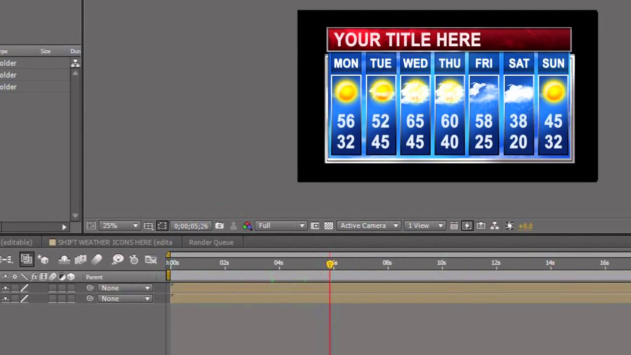 Adobe after Effect Template Free Lovely 7 Day Adobe after Effects Weather Template