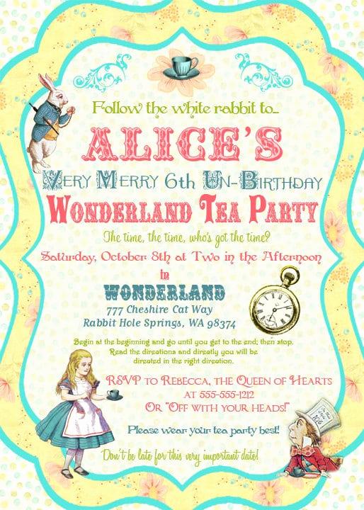 Alice In Wonderland Invitations Templates Awesome Alice In Wonderland Invitation Template Free