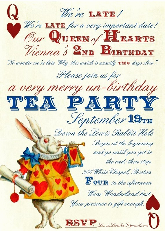 Alice In Wonderland Invitations Templates Awesome Alice In Wonderland Un Birthday Tea Party Invitations Digital