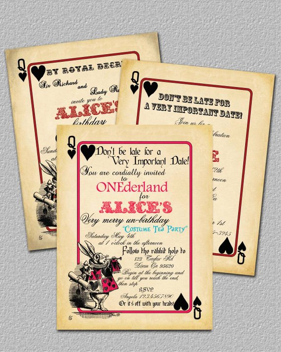 Alice In Wonderland Invitations Templates Awesome Items Similar to Playing Card Alice In Wonderland