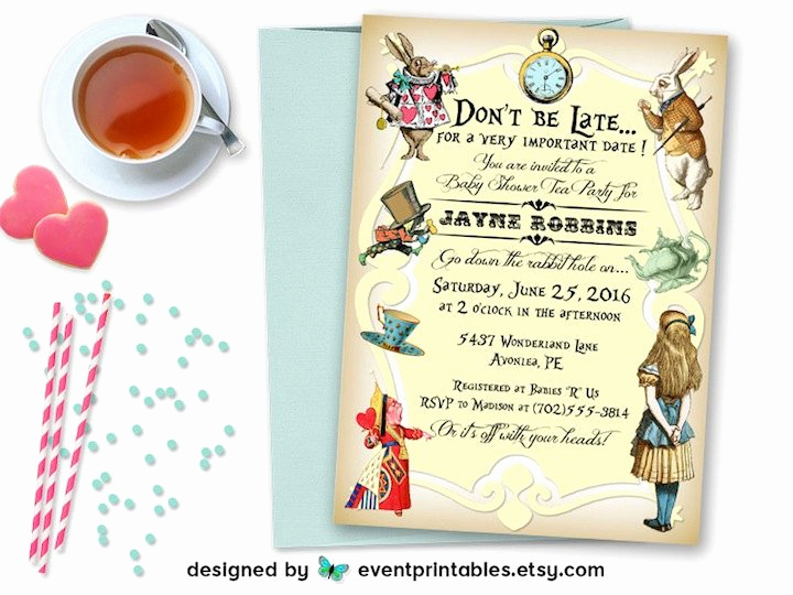 Alice In Wonderland Invitations Templates Beautiful Alice In Wonderland Invitation Baby Shower Bridal Shower