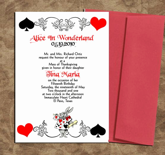 Alice In Wonderland Invitations Templates Beautiful Alice In Wonderland Quinceanera theme Google Search