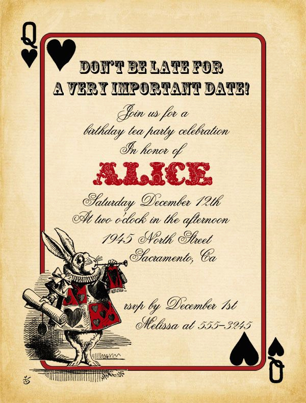 Alice In Wonderland Invitations Templates Beautiful Playing Card Alice In Wonderland Invitation Bridal Shower