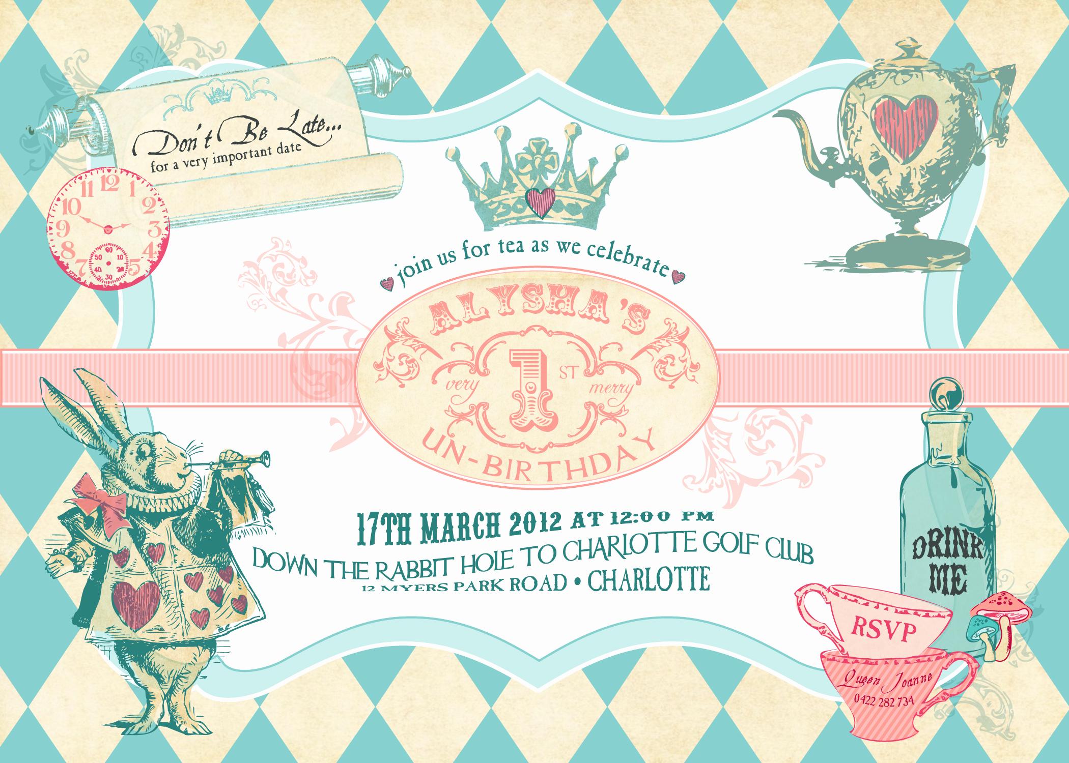 Alice In Wonderland Invitations Templates Best Of Alice In Wonderland Birthday Invitations