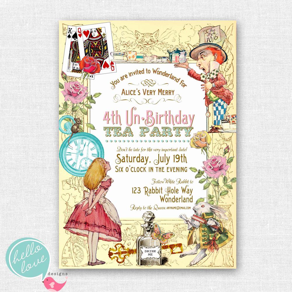 Alice In Wonderland Invitations Templates Best Of Alice In Wonderland Printable Birthday Invitation