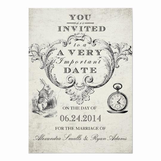 Alice In Wonderland Invitations Templates Elegant Alice In Wonderland Wedding Invitation