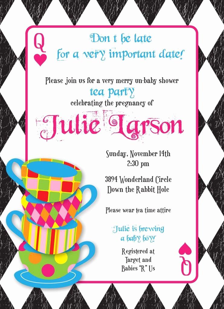 Alice In Wonderland Invitations Templates Elegant Mad Hatter Tea Party Invitations Templates Free
