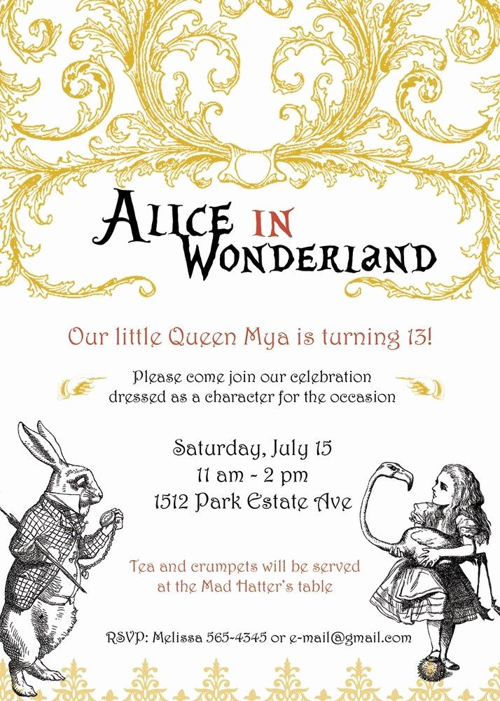 Alice In Wonderland Invitations Templates Elegant Unavailable Listing On Etsy