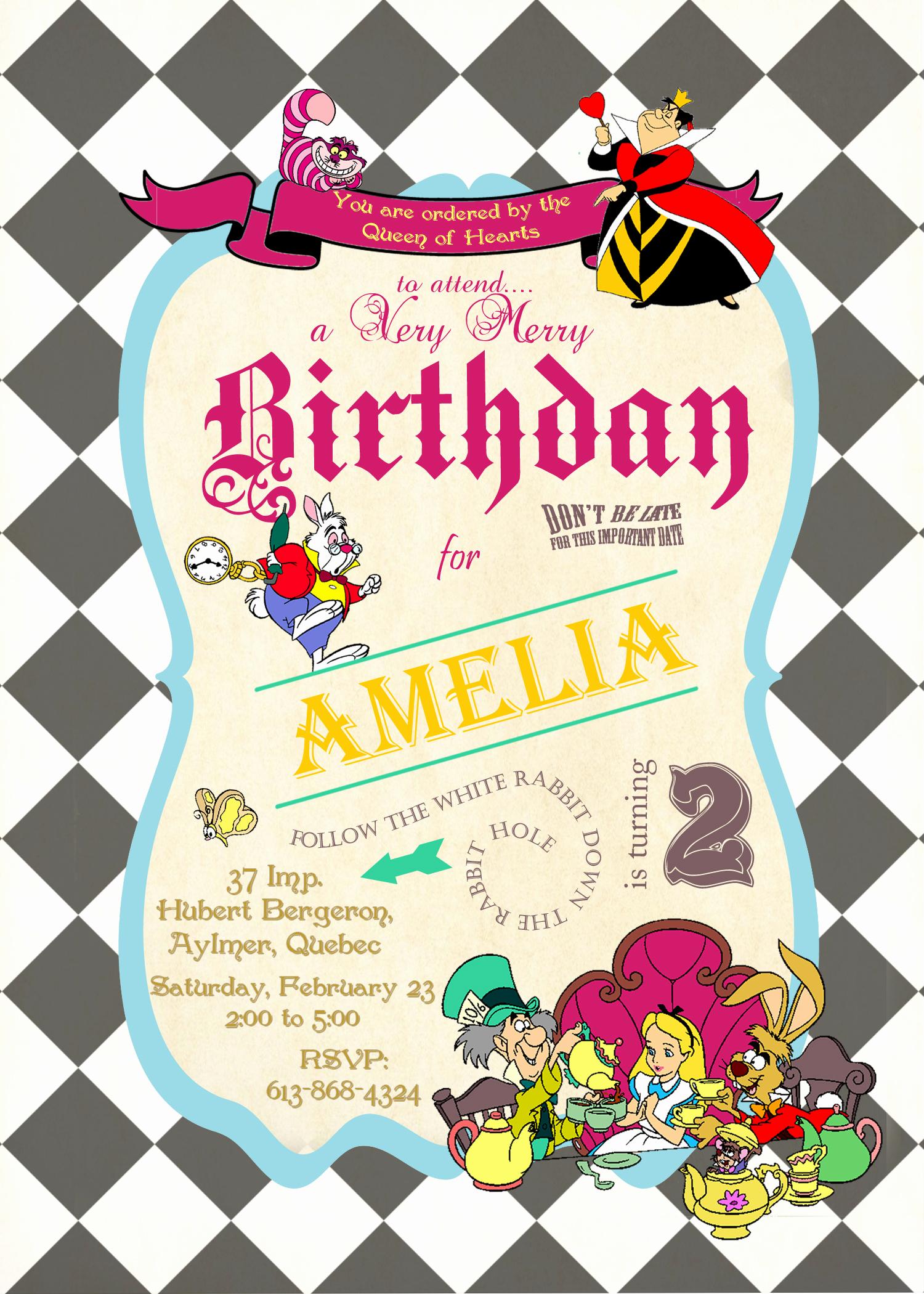 Alice In Wonderland Invitations Templates Fresh Alice In Wonderland Birthday Invitations