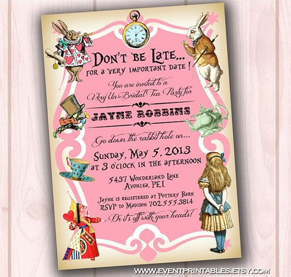 Alice In Wonderland Invitations Templates Fresh Alice In Wonderland Invitation Bridal Shower Baby Shower