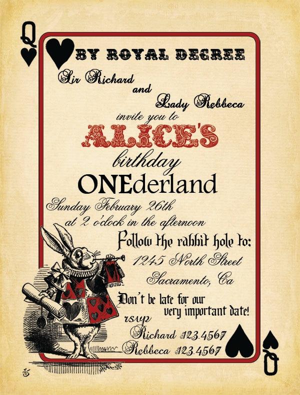 Alice In Wonderland Invitations Templates Fresh Free Printable Alice In Wonderland Birthday Invitations