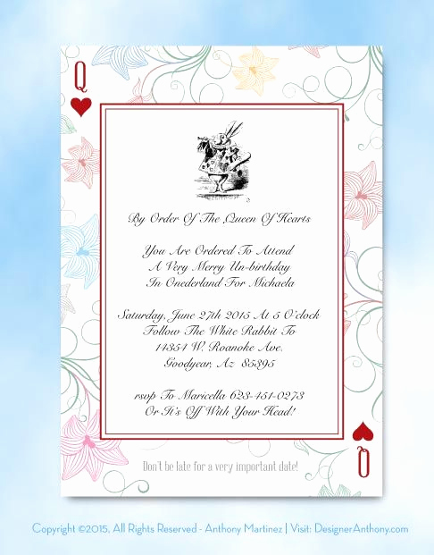 Alice In Wonderland Invitations Templates Fresh Free Template Free Alice In Wonderland Printable