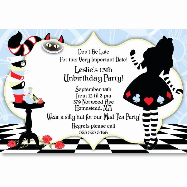 Alice In Wonderland Invitations Templates Inspirational Alice In Wonderland Invitation Template