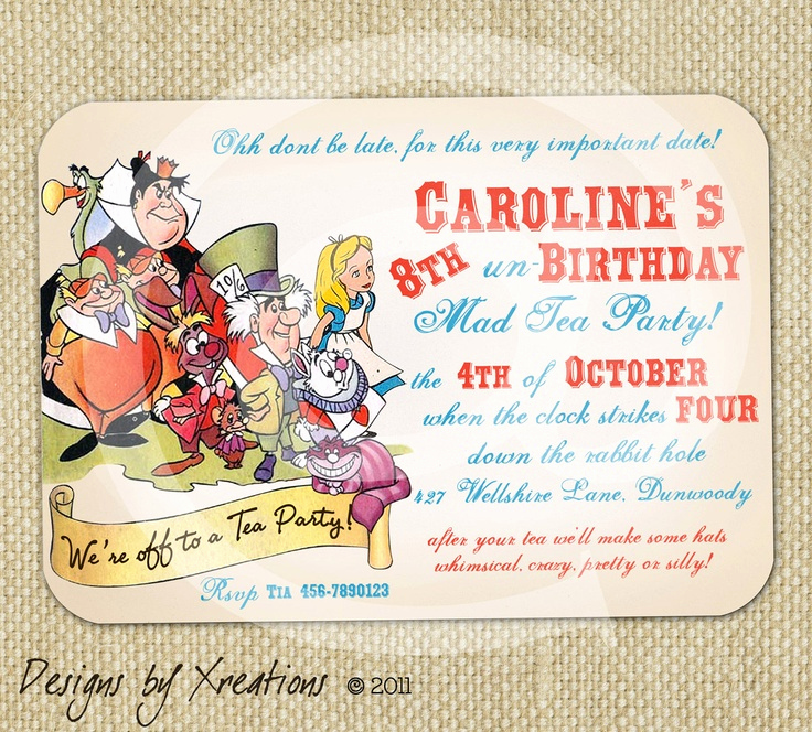 Alice In Wonderland Invitations Templates Inspirational Alice In Wonderland Tea Party themed Invitation Digital