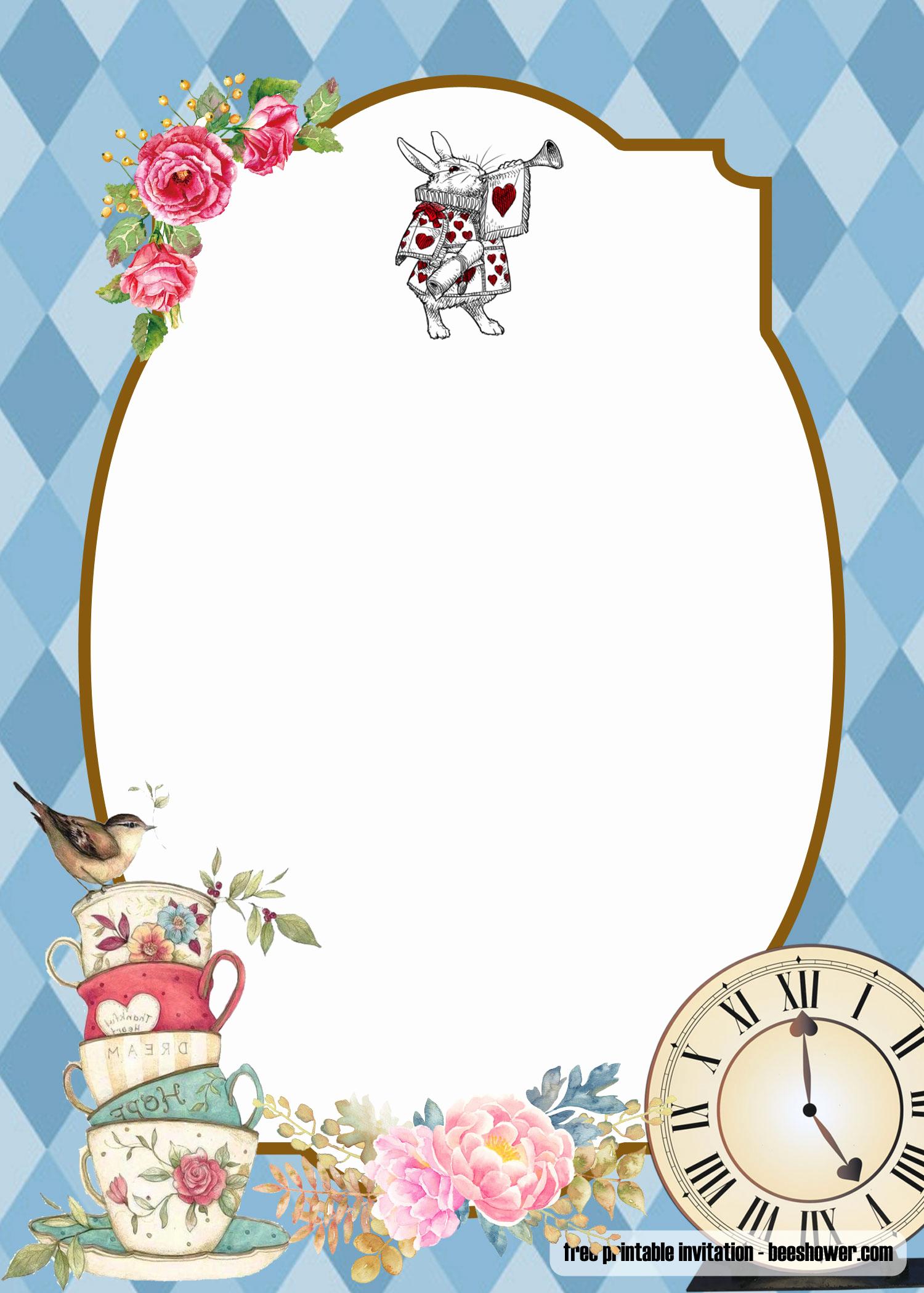 Alice In Wonderland Invitations Templates Lovely Free Alice In Wonderland Baby Shower Invitations Templates