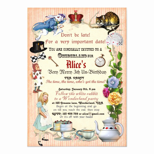 Alice In Wonderland Invitations Templates Luxury Alice In Wonderland Birthday Party Invitation