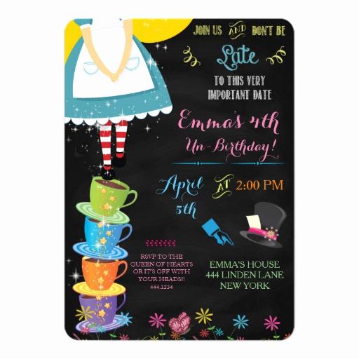 Alice In Wonderland Invitations Templates Luxury Alice In Wonderland Chalkboard Birthday Invitation