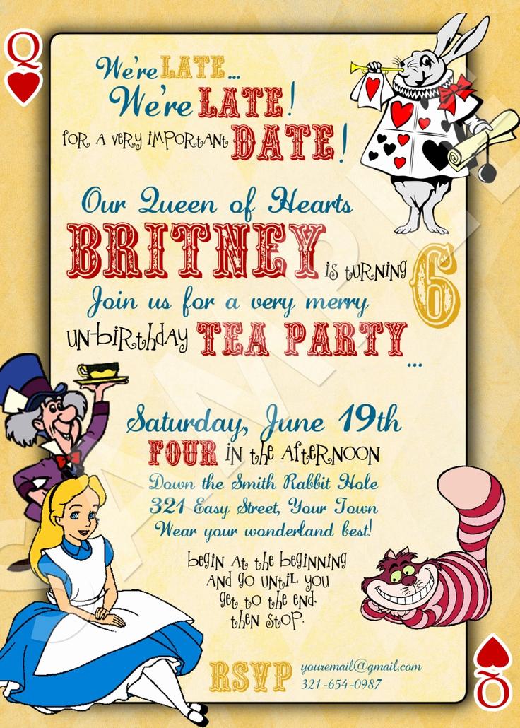 Alice In Wonderland Invitations Templates New Alice In Wonderland Birthday Invitations