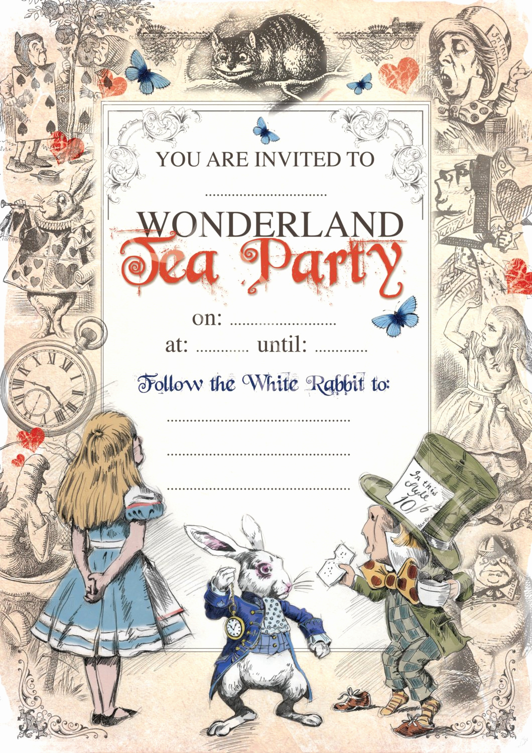 Alice In Wonderland Invitations Templates Unique Alice In Wonderland Printable Mad Hatters Tea Party Invite