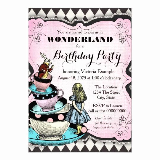 Alice In Wonderland Invitations Templates Unique Vintage Alice In Wonderland Birthday Party Invitation