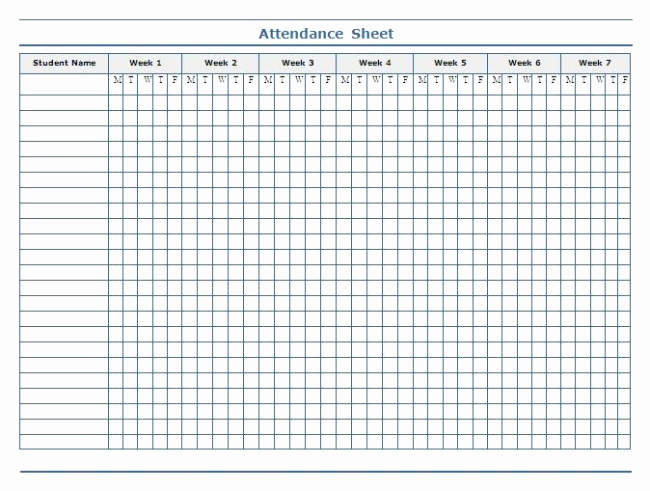 minimalist template of weekly attendance sheet in excel for student with 7 weeks column