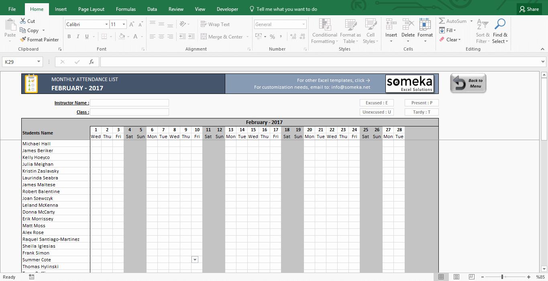 Attendance Sheet Template Excel Elegant attendance Sheet Printable Excel Template