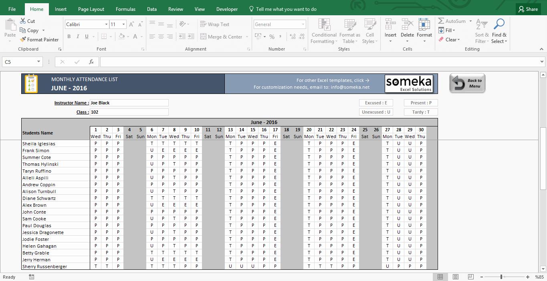 Attendance Sheet Template Excel Inspirational attendance Sheet Printable Excel Template
