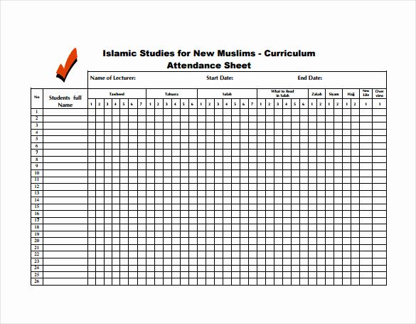 Attendance Sheet Template Excel Lovely 14 attendance Sheet Templates Pdf Doc Excel