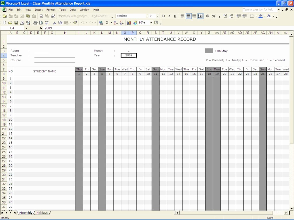 Attendance Sheet Template Excel Lovely Perfect Monthly attendance Sheet Record Template In Excel