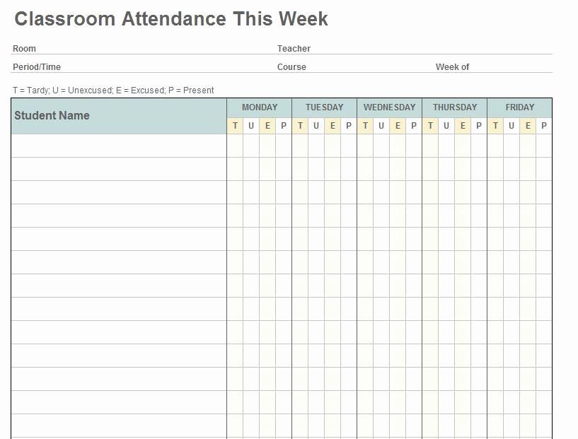 Attendance Sheet Template Excel New Class attendance Template