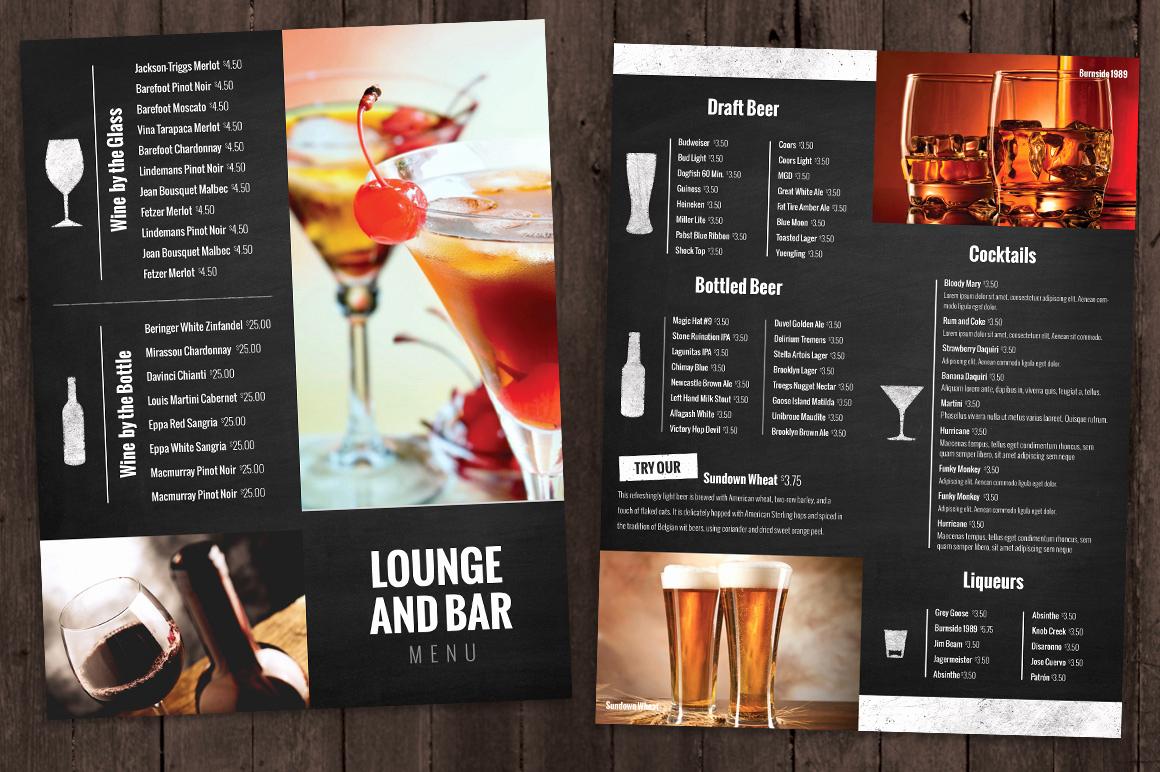 Bar Menu Template Free Beautiful Bar and Lounge Drink Menu Brochure Templates On Creative
