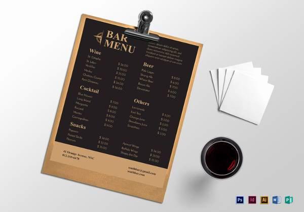 Bar Menu Template Free Fresh 30 Bar Menus