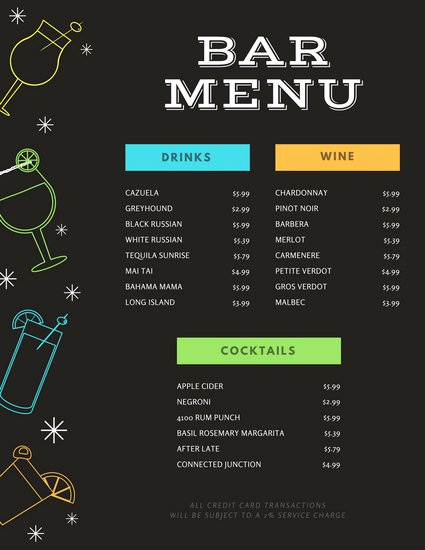 Bar Menu Template Free Fresh Black with Colourful Drink Icons Bar Menu Templates by Canva