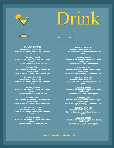 Bar Menu Template Free Inspirational 5 Free Sample Bar Menu Templates Printable Samples