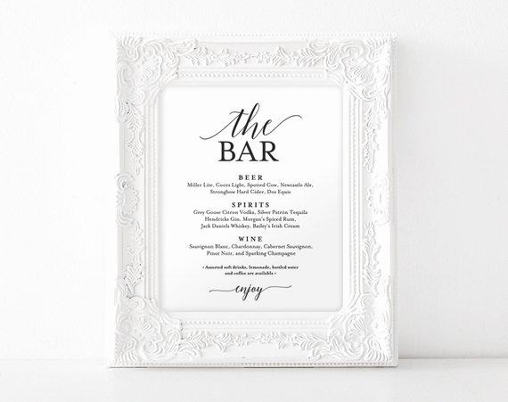 Bar Menu Template Free Lovely Bar Menu Sign the Bar Sign Wedding Bar Menu Printable