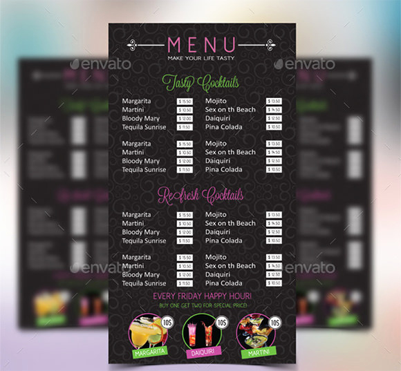 Bar Menu Template Free Lovely Cocktail Menu Templates – 54 Free Psd Eps Documents